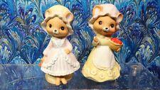 (2) Mice Figurines by 1979 Enesco, Porcelain Mouse Fruit Basket & Mushroom Nice