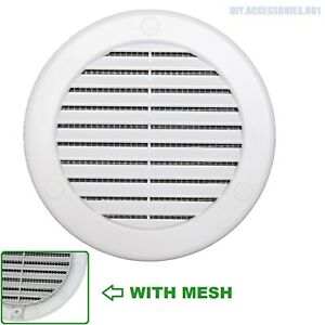 """WHITE 100mm 4"""" FLAT Circle Air Vent Grille Round Ducting Cover with Mesh"""