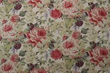 "BRAEMORE MONTEROSSA BISQUE PINK ROSE FLORAL MULTIUSE LINEN FABRIC BY YARD 54""W"