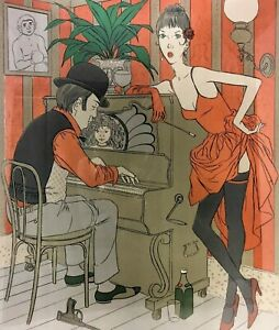 Philippe Noyer Rare 1970 Signed Untitled Lithograph Depicting a Piano Bar Scene