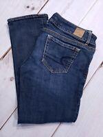 "American Eagle Womens Size 6 Inseam 24"" Jeans Super Stretch Crop Dark Wash Denim"