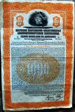 """German Gold Bond """"Central Bank for Agriculture"""" $1000 1927 cancelled"""