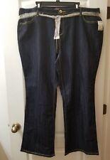 WAK Sz 24W Dark Wash Denim Jeans with Gold Chain Belt G3