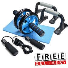 AB Wheel Roller Push Up Bar Jump Rope Fitness Workout Train Abdominal Gym Set