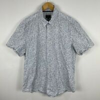 Sportscraft Mens Button Up Shirt Large Blue White Floral Short Sleeve Collared
