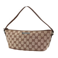 GUCCI Original GG Canvas Leather Pouch Hand Bag Brown Beige Italy Auth #RR434 S