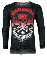 AFFLICTION Mens Thermal SPEED RUN Reversible Biker Skull Cross MMA GYM S-2XL $64