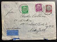 1941 Krefeld Germany Censored Airmail Cover To New York USA Via Lisbon Sara