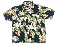 Tommy Bahama Mens L Short Sleeve Silk Button Up Floral Hawaiian Shirt Navy EUC