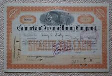 Cahumet and Arizona Mining Company less than 100 $10 shares stock certificate