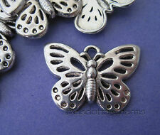 5 x BUTTERFLY CHARMS 18x25mm SILVER TONE METAL JEWELLERY MAKING PENDANTS (F5)