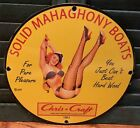 VINTAGE 1961 DATED SOLID MAHAGHONY CHRIS CRAFT BOATS PORCELAIN SIGN