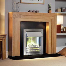 Electric Oak Wood Surround Silver Black Modern Wall Fire Fireplace Suite Lights
