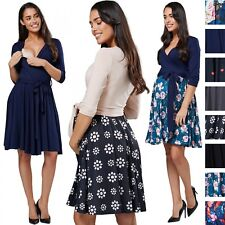 Chelsea Clark. Women's Maternity Empire Waist Dress V-Neckline Front Tie .657p