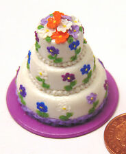 1:12 Scale Wedding Cake With Flowers Dolls House Miniature Bakery Accessory P
