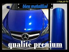 Film vinyle covering bleu brillant métallisé 152 x 30 cm thermoformable adhésif