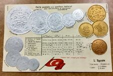 {BJ STAMPS} EGYPT 1908  EMBOSSED GOLD, SILVER & COPPER COINS POSTCARD to Finland