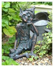 Charming and fun Pixie sitting Garden Ornament - bronze effect resin 51cm tall!