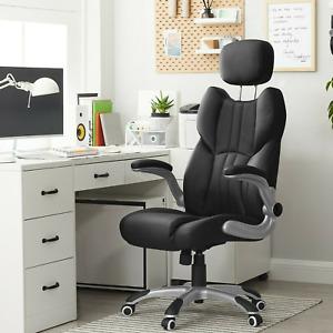 Bürostuhl Computerstuhl Chefsessel Drehstuhl PU ergonomischer Schwar OBG65BK