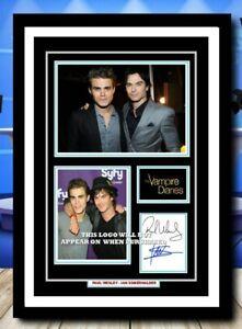 (489) paul wesley ian somerhalder vampire diaries signed photo unframed/framed