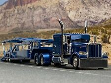 "1/64 DCP BLUE PETERBILT 389 63"" FLAT TOP W/ MILLER 5 CAR CAR CARRIER TRAILER"