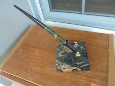 Vintage Desk Top Fountain Pen & Holder, 14K Gold Nib GREEN MARBLE PEARL