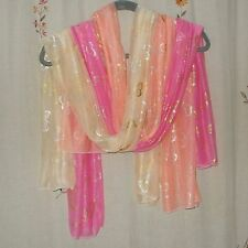 Set of 3- Oblong, Gold Metallic, Butterfly Design Scarves in Pink, Peach & Cream