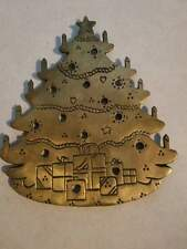 "Vintage Brass LILIAN VENON Christmas Tree Pot Holder 9.5"" tall"