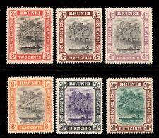 Brunei 1907 Canoe wmk  MCCA p/set (6v.) mint CV £71