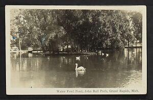 MICHIGAN 958-Water Fowl Pond, John Ball Park, Grand Rapids  Real Photo (RPPC)
