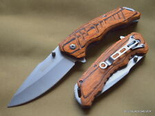 TAC-FORCE SPRING ASSISTED TACTICAL KNIFE PAKKAWOOD HANDLE WITH POCKET CLIP