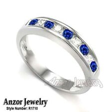 Sapphire Ring in 18k Gold #R1710 Channel Set Round Diamond and Natural