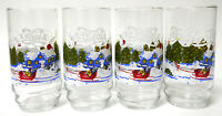 4 Vintage Pepsi Cola Glasses With Sleigh and Winter Scene Mint NOS