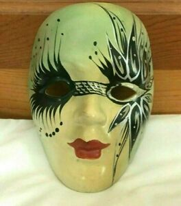 Art Deco Porcelain Face Mask Wall Art Hand Painted Fantasy Themed