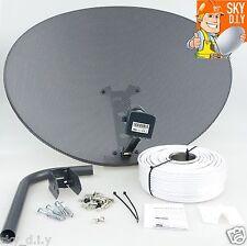 Freesat / Sky 80cm zone 2 satellite dish & quad lnb + 5m RG6 White install kit