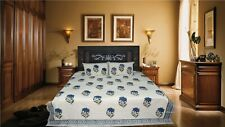 Indian hand made Flower new Design king size Bed Sheet& 2 Amazing Pillow cover