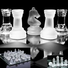 TRADITIONAL CLASSIC 32 PIECE CRYSTAL CLEAR GLASS CHESS BOARD TABLE GAME SET KIT