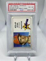 1981 Perma-Graphics Nolan Ryan PSA 6 Super Star Credit Card Houston Astros HOF🔥