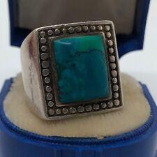 Vintage Sterling Silver Ring 925 Size 6.5 Massive Southwest Turquoise Signet