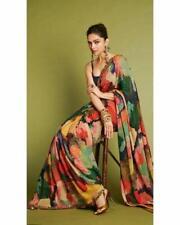 Multicolored Bollywood Designer Satin Sari Indian Pakistani Party Wear Blouse