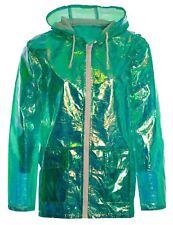 Womens Holographic Waterproof Zipped Neon Festival Jacket Mac Parka Raincoat