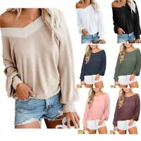 Womens Loose Pullover Sweatershirt Long Sleeve Coat Autumn Ladies V neck Sweater