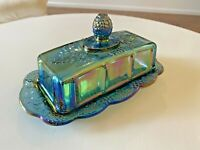 Vintage Indiana Carnival Glass Blue Iridescent Harvest Grape Butter Dish w/Lid