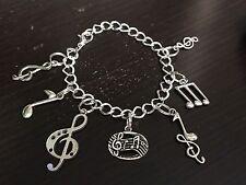"Music Notes Mix B Charm Tibetan Silver Bracelet 8"""