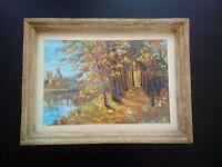 Tableau paysage avec forêt & rivière années 1950 signé huile sur panneau encadré