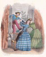 Proverbe Un peu d'Aide fait Grand Bien a Little Help Does Great Grandville 1870