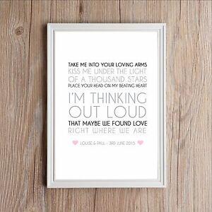 Personalised Song Lyrics Print Ed Sheeran Thinking Out Loud Valentines Wedding