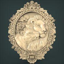 (982) STL Model Panno Lions for CNC Router 3D Printer Artcam Aspire Bas Relief