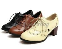 Ladies new Vintage Wing Tip Lace Up Block Mid Heel Brogue Oxford Shoes Plus Size