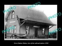 OLD LARGE HISTORIC PHOTO OF GROVE STATION MAINE, THE RAILROAD DEPOT STATION 1920